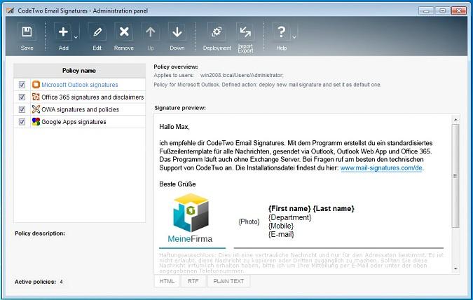 Programmfenster von CodeTwo Email Signatures