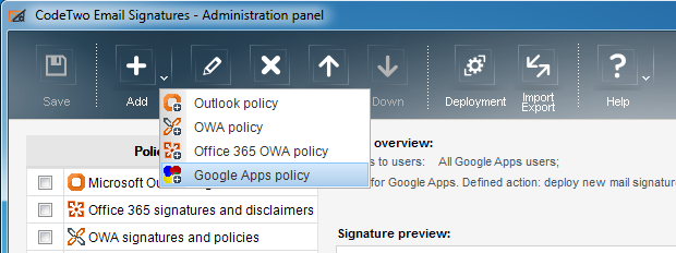 CodeTwo Email Signatures - Policy-Auswahl