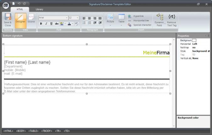 Editor von CodeTwo Email Signatures