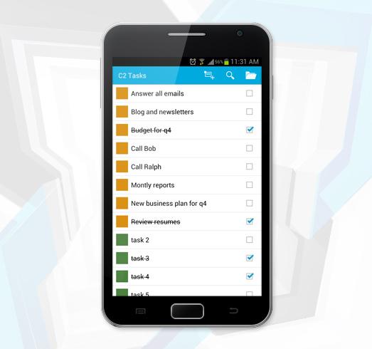 Aufgaben in einem Exchange-Ordner, angezeigt auf einem Smartphone mit Android