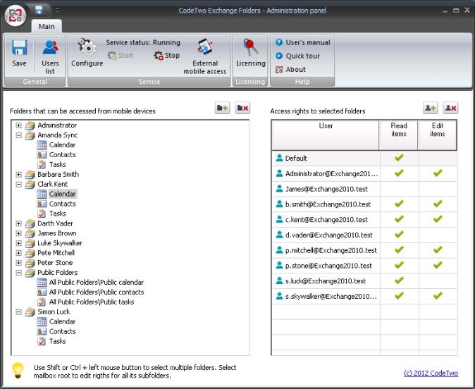 CodeTwo Exchange Folders - Hauptfenster