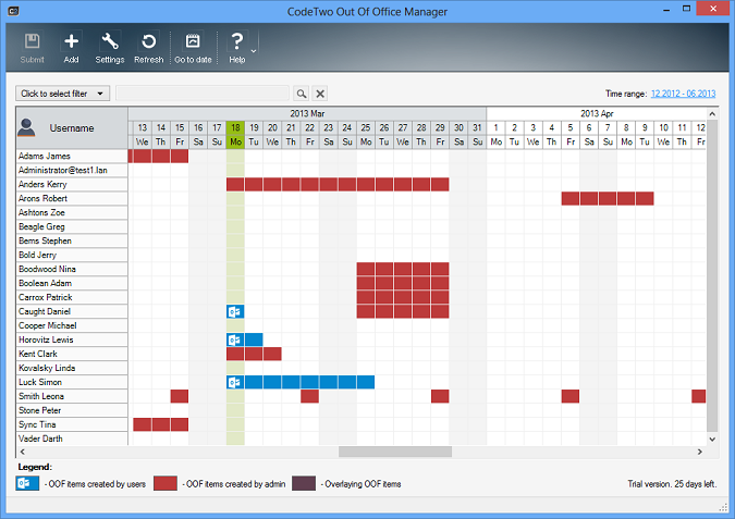 CodeTwo Out of Office Manager - Kalender