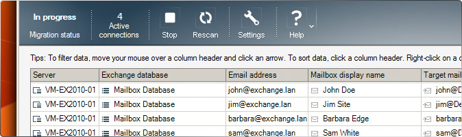 CodeTwo Office 365 Migration - Interface