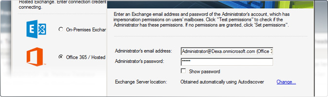 Exchange Office 365 Migration - Programmfenster