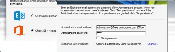 Exchange Office 365 Migration - Programmfenster
