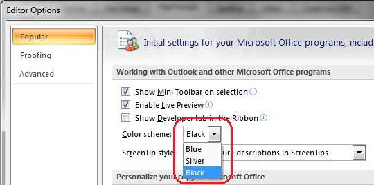 Hintergrund in email outlook 2010
