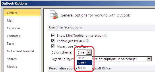 Outlook mail hintergrundfarbe