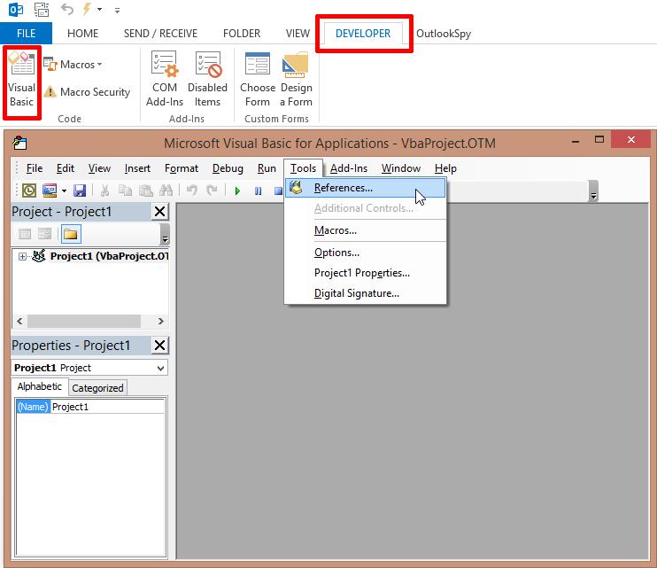 Outlook: Virtual Basic-Fenster