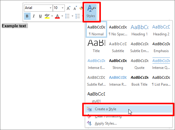 Outlook-Text-Menü mit Create a style-Button
