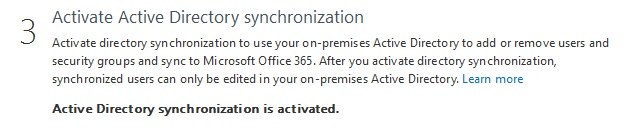 Office 365: Aktivierung der AD-Synchronisierung