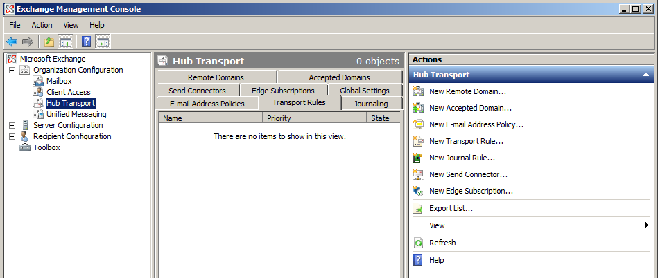 Exchange 2007 Management Console