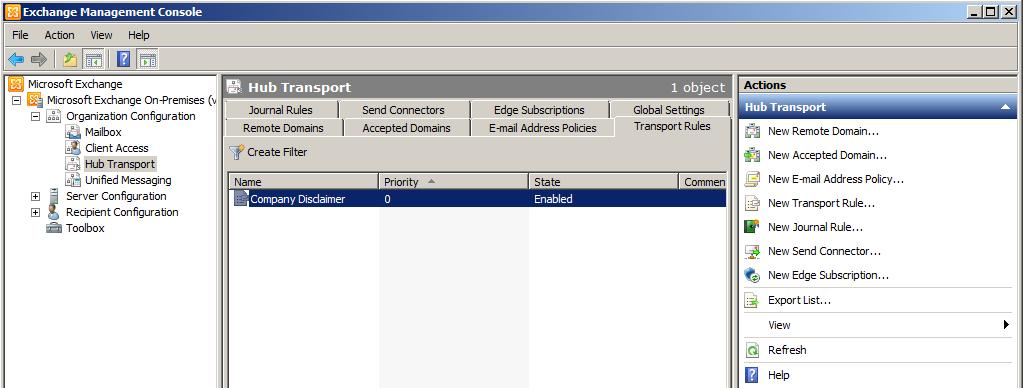 Exchange 2010 Management Console