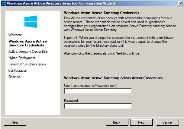 DirSync-Set-up - Eingabe der Zugangsdaten