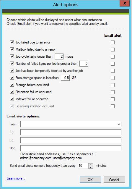 alert options