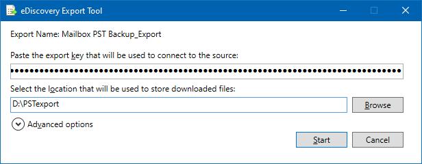 eDiscovery Export Tool: Export key