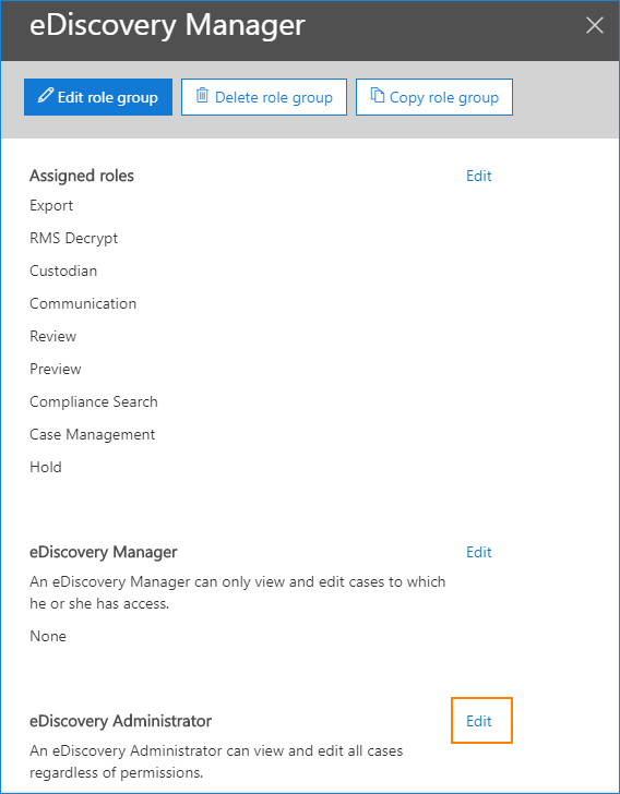 Edit eDiscovery Manager