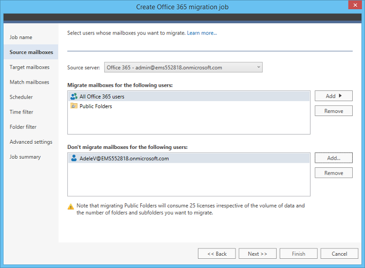 Office 365 Migration source mailboxes