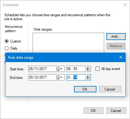 Scheduler custom time