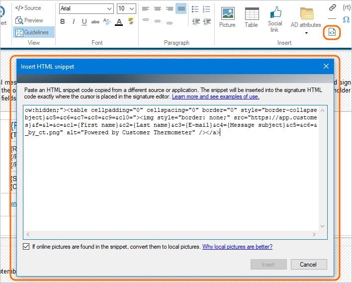 Fügen Sie HTML-Snippet in Ihre Office 365-Signatur ein