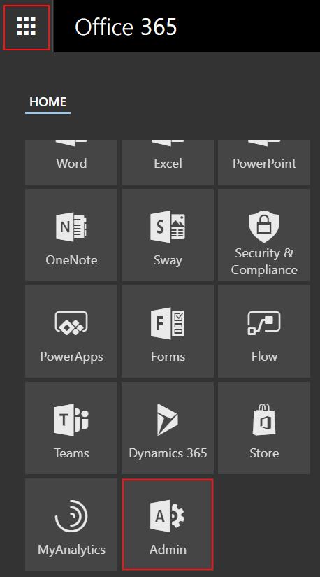 Zugriff auf das Office 365 Admin Center