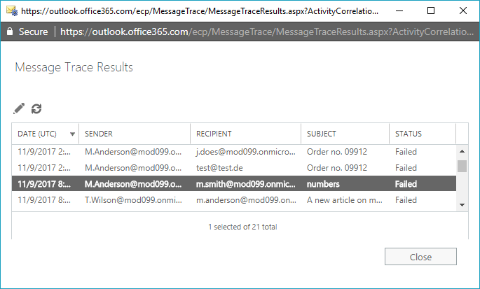 Message Tracing-Berichte - Liste
