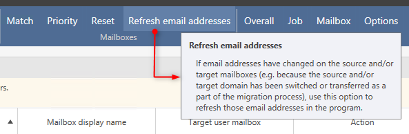 Refresh email addresses-Funktion