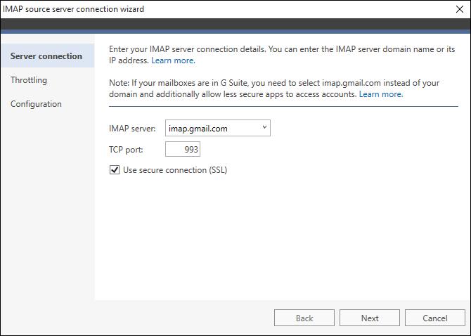IMAP-Server-Verbindungsassistent