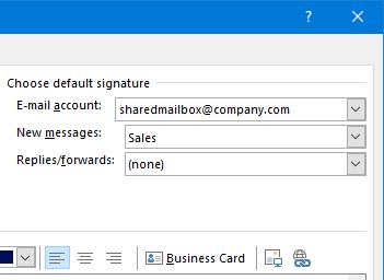 Outlook: Signatur fürs freigegebene Postfach