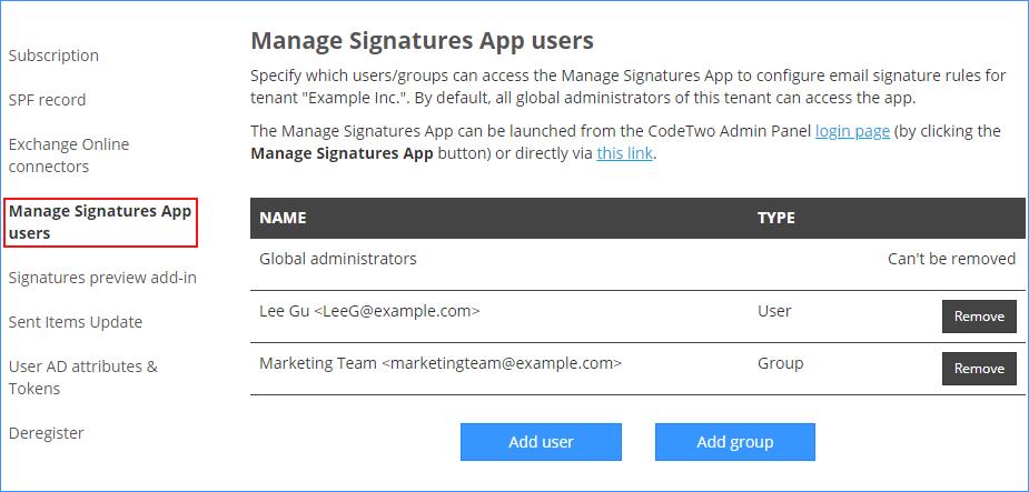 Manage Signatures App #3