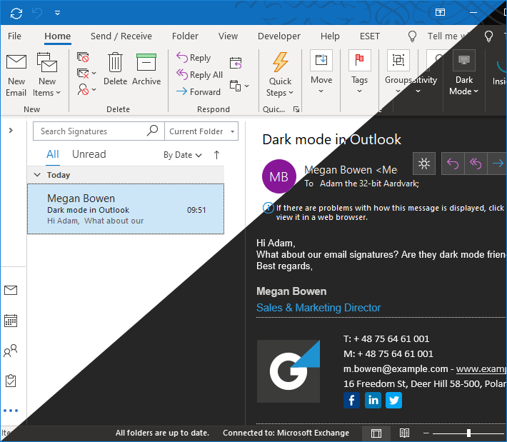 Vergleich: Dark und Light Mode in Outlook