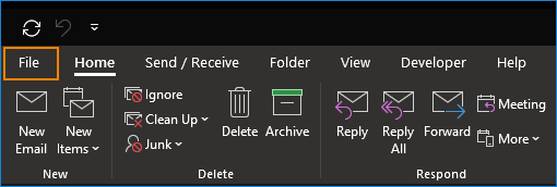 Outlook: File-Tab