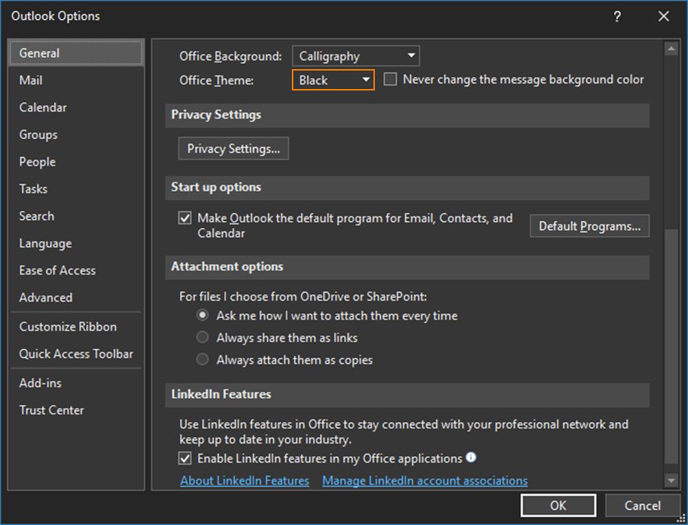 Office-Theme auf Black setzen, dann Dark Mode aktivieren.