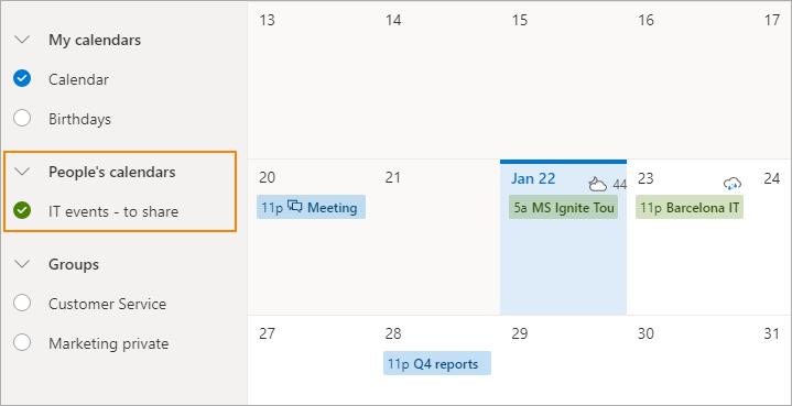 Freigegebener Kalender