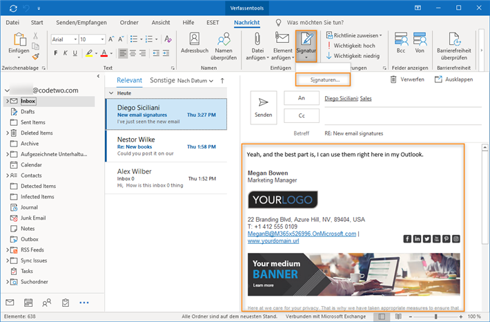 CodeTwo Signatures Add-in for Outlook in Outlook-Hauptmenü