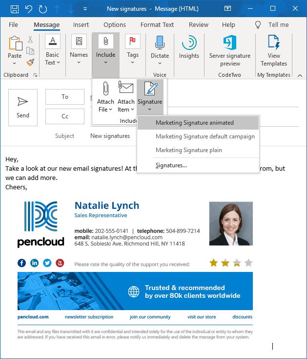 Auswahl der Signatur in Outlook