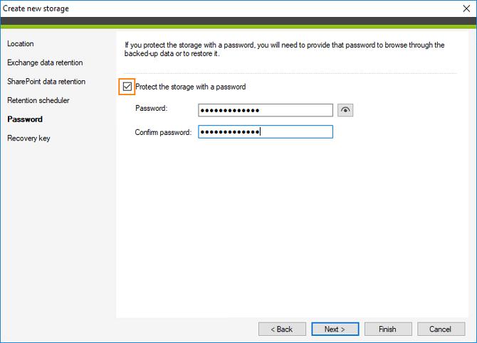 Backup: Speicherschutz mit Passwort