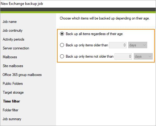 Backup: Zeitfilter für elemente
