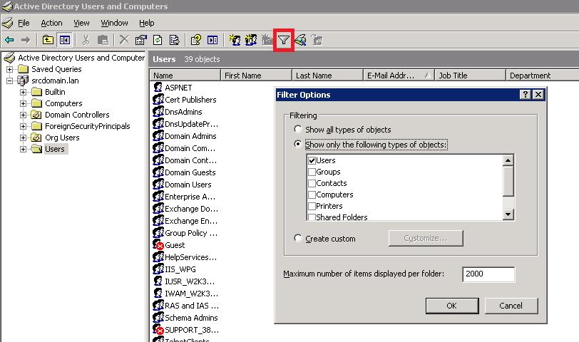 Auswahl der Benutzer