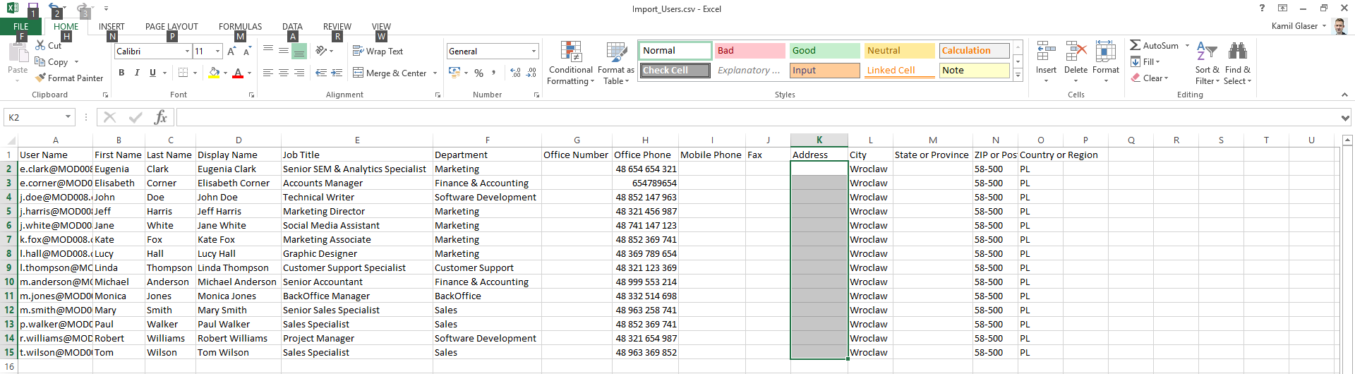 CSV-Datei: Excel-Tabelle