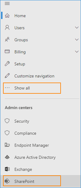 Microsoft 365 Admin Center - SharePoint Admin Center