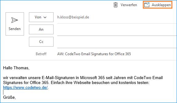 Outlook: Antwort ausklappen