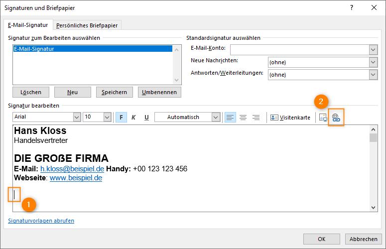 Outlook: Link in Signatur einfügen
