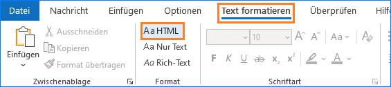 Outlook: Text Formatieren