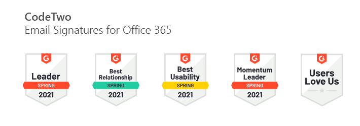 G2-Preise für CodeTwo Email Signatures for Office 365: Frühjahr 2021