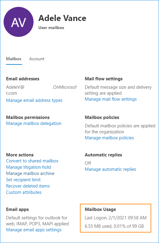 Postfachnutzung in Office 365