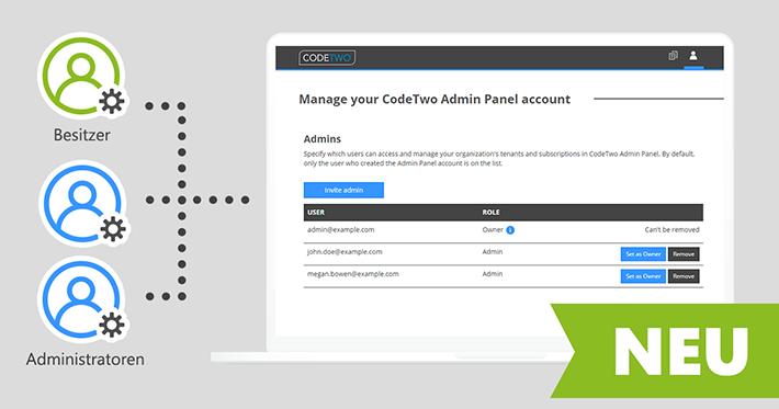 Neue Admin-Zugriffsrollen in CodeTwo Admin Panel