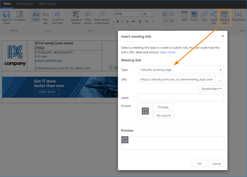 Online-Meetings in CodeTwo Email Signatures for Office 365 erstellen und planen - Calendly