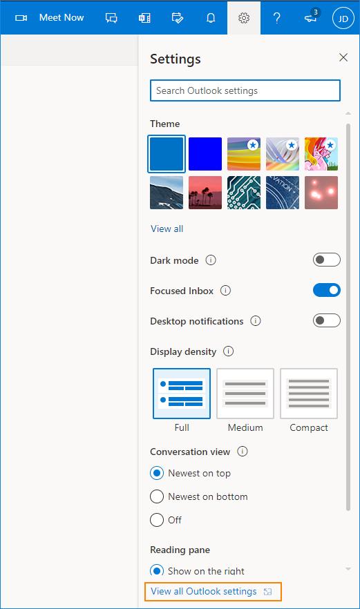 Outlook-Einstellungen anzeigen