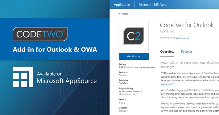 CodeTwo-Add-In für Signaturen als erstes in AppSource verfügbar