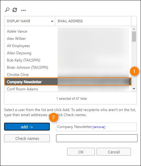 Transportregel konfigurieren: Postfach auswählen